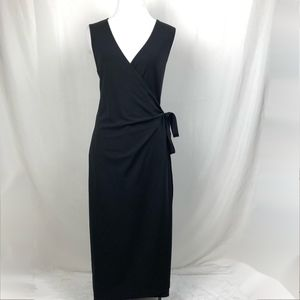 Calvin Klein Wrap Tie Dress Sleeveless Black